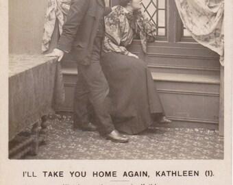 I'll Take You Home Again, Kathleen- 1900s Antique Photographs- SET of 3- Bamforth Life Model Series- Real Photo Postcards- Paper Ephemera