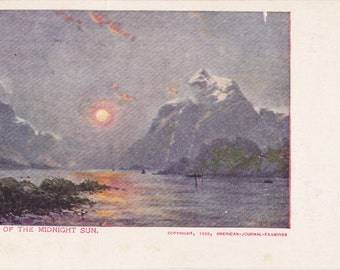 Land of the Midnight Sun- 1900s Antique Postcard- Arctic Circle- Alaska Landscape- American Journal- Souvenir Card- Paper Ephemera- Unused