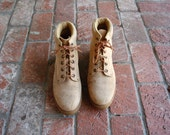 Vintage Womens 9 Montblanc by Connors Lace Up Ankle Work Boots Boot Tan Leather Moto Motorcycle Boho Spring Preppy Rugged Outdoor Hiking