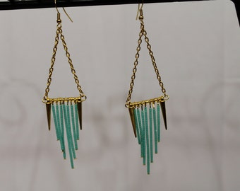 Gold spikes and turquoise chandelier earrings
