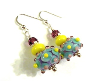 Blue Yellow & Purple Bumpy Lampwork Earrings, Blue Earrings, Yellow Earrings, Lampwork Jewelry, Purple Earrings, Crystal Earrings