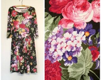 1990s babydoll rose garden dress L