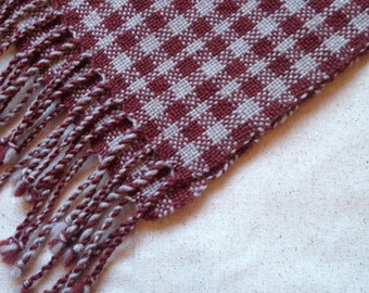 Checkered Handwoven Wool Scarf - Cranberry