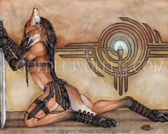 Maned Wolf Fox Warrior Print