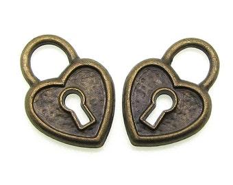 Bronze Charms : 10 Antique Bronze Heart Lock Charms | Brass Ox Skeleton Key Lock Pendants ... Lead, Nickel & Cadmium Free 65.J3-