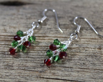 Christmas Swarovski Crystal Earrings / Red and Green / Dangly Crystal Earrings / Holiday Jewelry / Holiday Gift / Gifts for Her / Festive