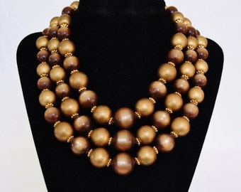 Vintage Triple Stranded Necklace of Dark Gold and Brown Moonglow Beads