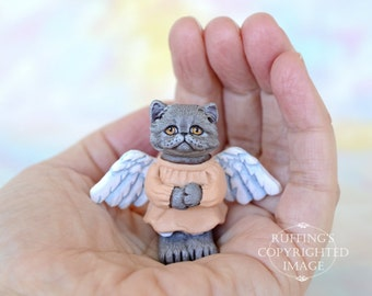 Cat Art Doll, OOAK Original Blue Persian Angel Kitten, Miniature Hand Painted Folk Art Figurine Sculpture, Willa by Max Bailey