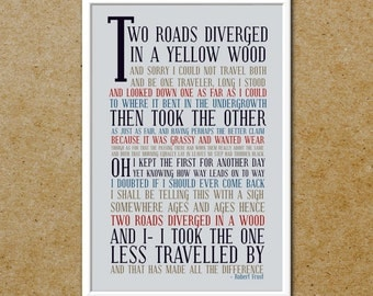 The Road Not Taken Subway Art Poster - 12x18 Typography Print - Robert Frost - The Road Less Travelled Poster - Free Shipping