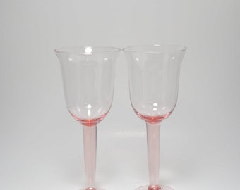 Vintage Hand Blown Pink Glass Wine Goblets, Blown Pink Water Goblets, Pink Glass Goblets, Vintage Pink Glass Wine Goblets