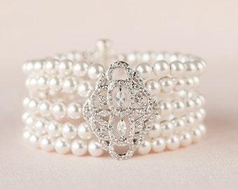 Pearl Bridal Bracelet, Cuff Wedding Bracelet, Bridal Jewelry, Crystal Wedding Bracelet, Mackenzie Cuff bracelet