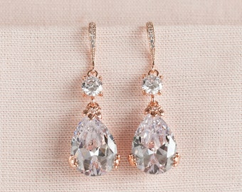 Rose Gold Bridal Earrings, Drop Wedding Earrings, Swarovski, Bridesmaids Jewelry, Megan Bridal Earrings