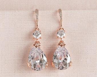 Rose Gold Bridal Earrings, Drop Wedding Earrings, Swarovski, Bridesmaids Jewelry, Megan Bridal Earrings