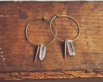 crystal spike hoop earrings.