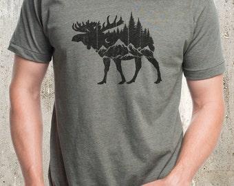 Men's Moose Mountain Forest T-Shirt - Men's Screen Printed T-Shirt