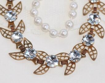 TRUE Vintage Brass Filigree Leaf Tennis Link Bracelet,Antique Swarovski Crystal CAL Hexagon Jewel Bracelet,Wedding,Bridal,Something Old