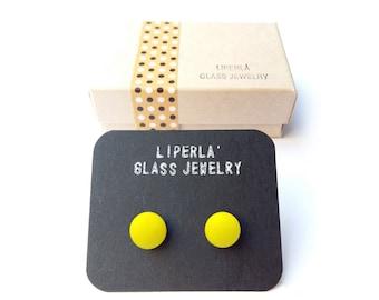 Neon yellow Stud earrings - Lemon yellow studs- Neon yellow earrings - yellow fused glass stud earrings