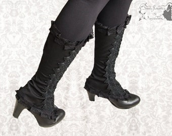 Spats, Victorian Steampunk black spats, romantic shoe covers, Maeror, Somnia Romantica, size medium, see item details for measurements