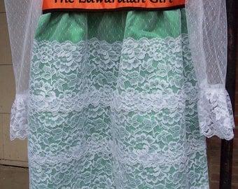 Custom made children's Titanic, Edwardian era, green and white tea dress.  Made in USA
