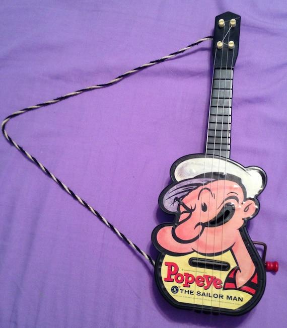 "VINTAGE MATTEL ""THE POPEYE GETAR"" Guitar Crank Up Music ... |Popeye Guitar"