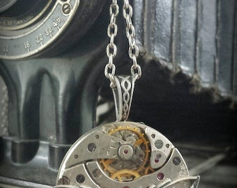 Steampunk Inspired Pendant - Vintage Pocket Watch with Swooping Swallow - Timeless Relic