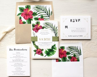 "Tropical Wedding Invitations, Destination, Hawaiian Florals, Gold, Fuchsia, Boho Floral Envelope Liners - ""Tropical Love"" Sample"