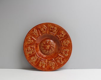 Vintage signs of the zodiac wall plaque - sun surrounded by each of the signs - 1980s DIY pottery - brown glaze - astrological home decor