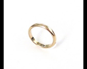 Antique 14K Gold Wedding Band / 1914 / Vintage Plain Yellow Gold Ring / 3.5 Grams Solid Gold / Estate Jewelry