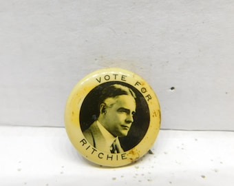 Antique Photo Pin Pinback Button Vote for Albert Ritchie DR 12