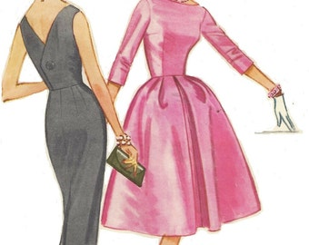 60s Audrey Hepburn Style Womens Dress with Slim or Full Skirt McCalls Sewing Pattern 5624 Size 18 Bust 38 UnCut Cocktail or Evening Dress
