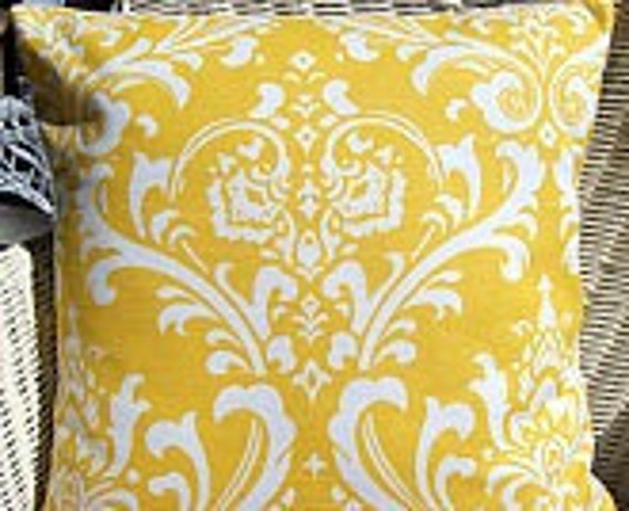 Yellow Damask Decorative Throw Pillow Covers ALL SIZES Yellow White Damask Nursery Pillow for Couch Yellow Cushion Cover Home Decor Shams