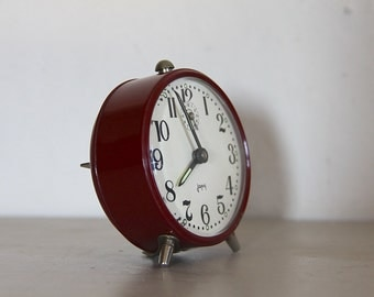 Cute Vintage French Japy  Alarm Clock Burgundy 60's Retro/ Mid Century