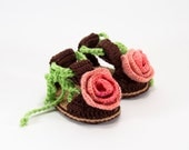 Crochet Baby Sandals with Flower - Brown, Pink and Green,  0 ~ 3 months