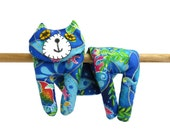 Flat Cat, Hot Cold Rice Bag, Microwave Neck Wrap, Rice Heating Pad, Hot Cold Therapy Pack, Blue Green Pink Yellow Fish #1