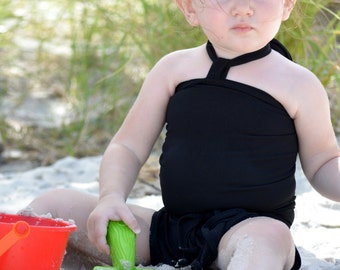 Girls Swimsuit Baby Bathing Suit Classic Black Wrap Around Swimwear One Wrap Swimsuit Mommy and Me Swimming Costume Infant Newborn Toddler