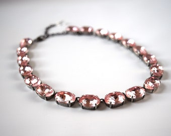 Crystal Choker Necklace, Blush Pink Necklace, Peach Crystal Necklace, Brulee Riviere Necklace, Georgian Paste, 18th Centuryn Anna Wintour