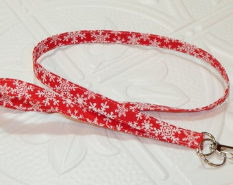 Lanyard - Fabric Lanyard - Badge Holder - Keychain - Key Lanyard - Red Snowflakes