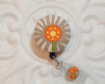 Retractable Badge Holder - Id Reel -  Fabric Covered Button - Button Badge Reel - Gray Orange