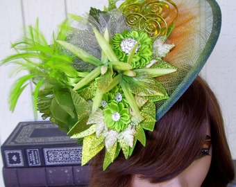 Fascinator (F616) Royal Ascot, Derby Races Hat, Wedding Hat, Silk Florals, Feathers, Sinamay Hat Base, Apple Green, Crystals, Rosettes