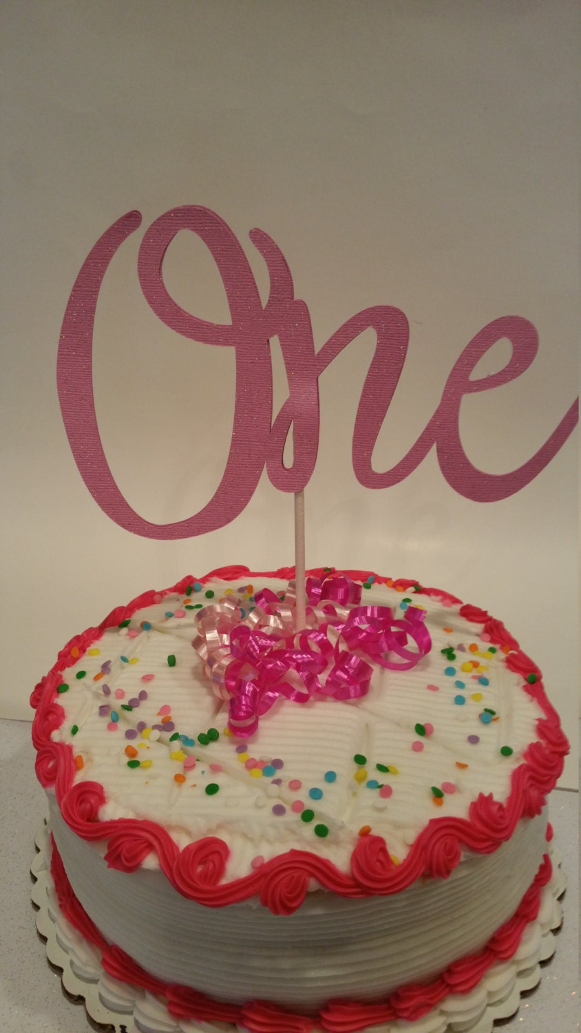 One Cake Topper Birthday Pink Sparkle First Party Decorations Large Happy 1st From ThePoppinPartyShop On Etsy Studio