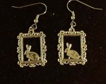 Rabbit in a Picture Frame Earrings
