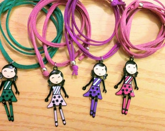 Girls necklace, girl necklace,girls jewelry,doll necklace,doll jewelry,kids jewelry,children necklace, dolly necklace,doll pendant