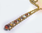 Old Antique Retro Yellow Vintage Rhinestone Necklace, yellow rhinestone necklace, vintage necklace with rhinestones, amber, aurora borealis