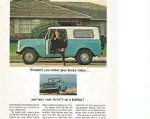 1964 Advertisement International Scout Compact Convertible Harvester Blue Turquoise White Roof Play Hooky Owner Driver Wall Art Decor