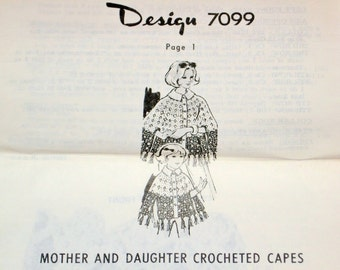 Vintage 1970s Design Mail Order Crochet Pattern 7099 Mother Daughter Crocheted Poncho Sizes Girl 2 4 6 8 10 12 Miss Women 10 12 14 16 18 20