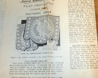 Laura Wheeler American Eagle Doily Set Filet Crocheted Patriotic Thread Lace Chair Back Doilies Vintage 1941 Mail Order Crochet Pattern 2804