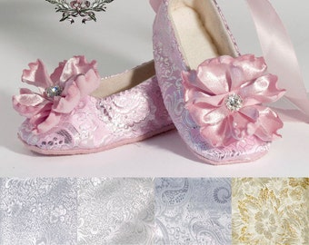 Pink and Silver Baby Ballet Slipper, Wedding Toddler Ballet Flat, Flower Girl Shoe, Christening, Summer Wedding Shoe, Crib Shoe, Baby Souls