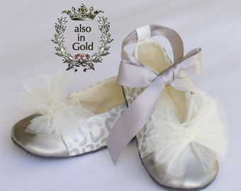 christmas silver toddler ballet slipper leopard holiday baby ballet flat gold wedding shoe