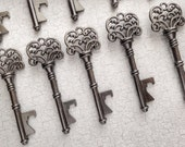 "Skeleton Key BOTTLE OPENERS – Set of 100 – Gunmetal Black – 3"" Long (76mm) –Vintage Style - Create Your Own Wedding Favors! Ships from USA."
