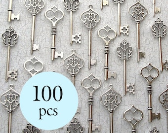 100pcs - The Francis Collection - Wedding Favors - 100 Skeleton Keys in Antique Silver - 3 Different Styles